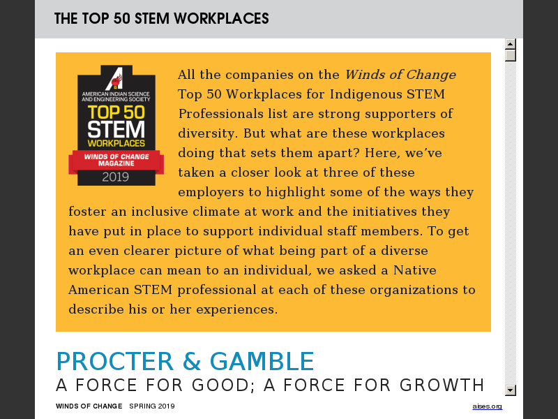 The Top 50 Workplaces for Indigenous STEM Professionals