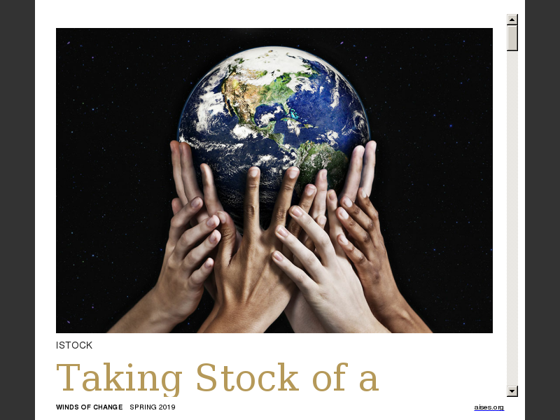 Taking Stock of a Changing World