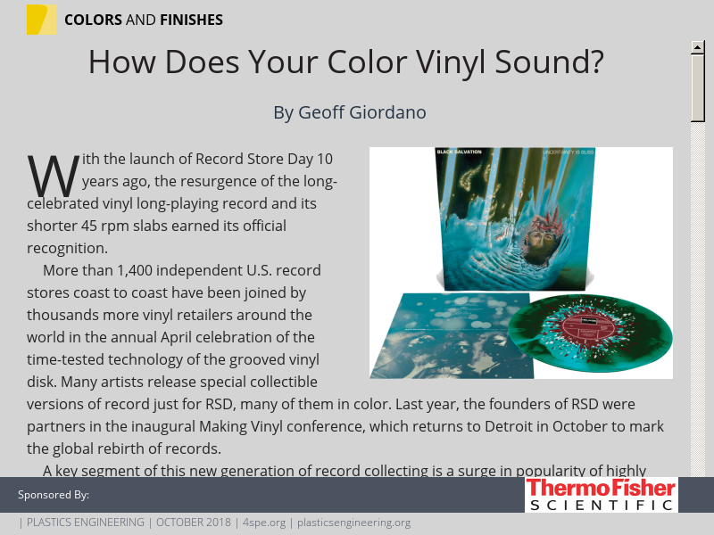 how does your color vinyl sound?plastics engineering october 2018