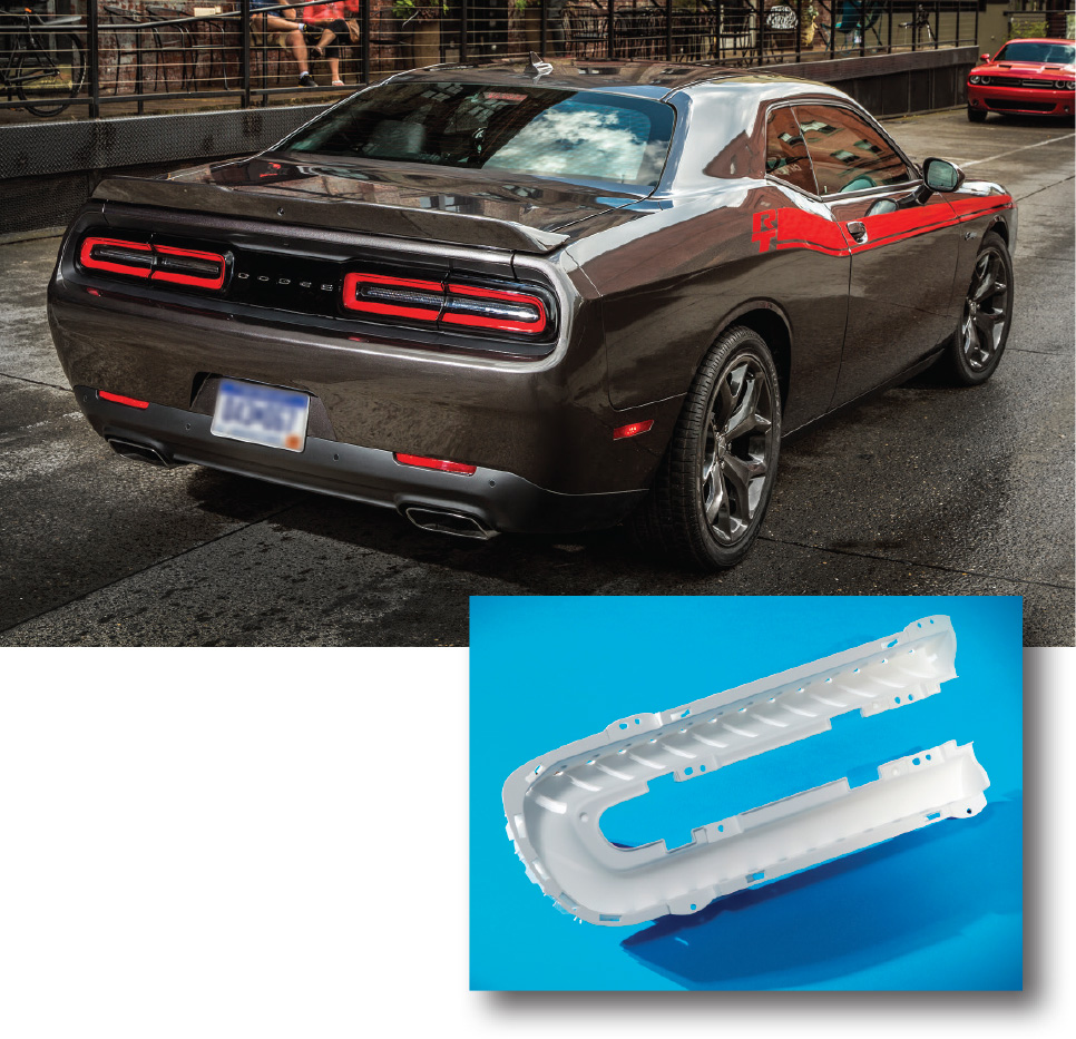 Enlightening Possibilities Plastics Expand Role In Vehicle Lighting Shearing Force And Bending Moment Diagram Car Tuning Taillamp Reflectors On Dodge Challenger Sports Cars From Fca Us Llc Appear To Glow Homogeneously When Lit Via Multiple Leds Thanks A Special Resin
