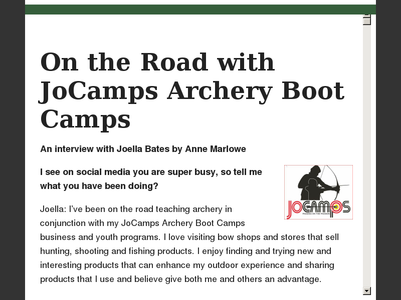 On the Road with JoCamps Archery Boot Camps