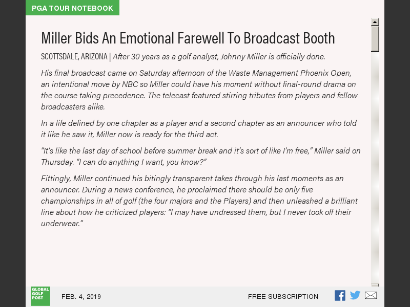 67d56722394 Miller Bids An Emotional Farewell To Broadcast Booth